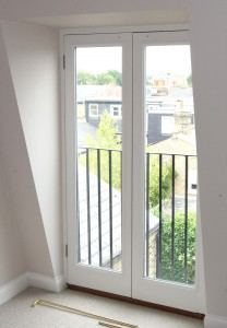 A juliet balcony prior to installation of curtains