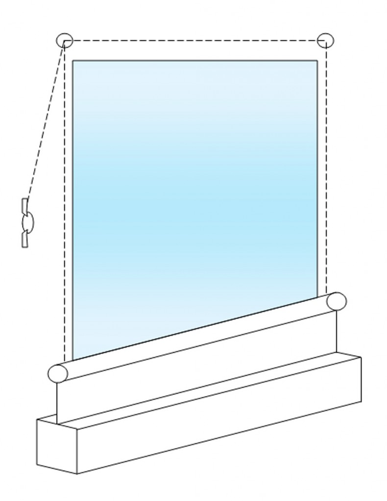 Diagram showing the way a bottom up roller blind operates