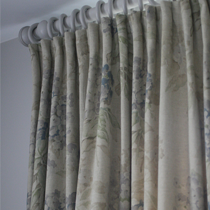 Cartride pleat blossom inspired curtains