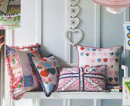patchwork applique union jack cushions