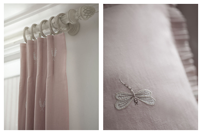 embroidered dragon fly cushion and pink pastel curtains