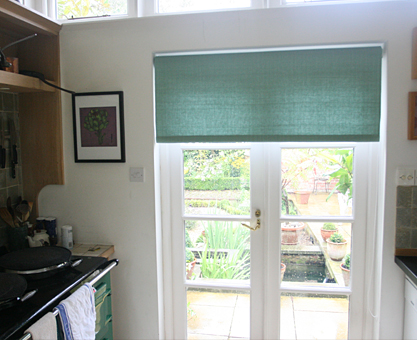 moghul green laminated roller blind