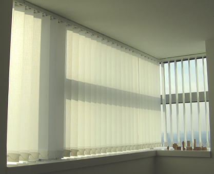 Vertical blinds for Canary Wharf corner windows