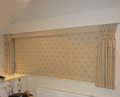Laminated Moghul roller blind with motorised, remote control headrail