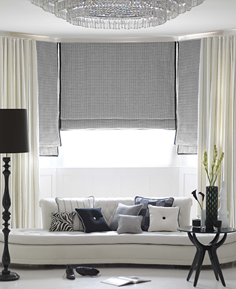 monochrome cushions, curtains, roman blinds from Moghul