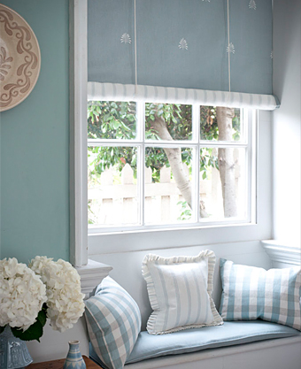 pastel linen union blinds, cushions from Moghul