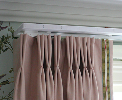 double pinch pleat curtains on track and pelmet, Moghul