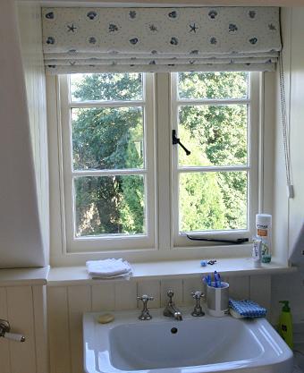Bathroom dormer window roman blind