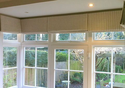 Square bay window roman blinds