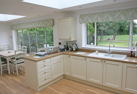 Pushing the boundaries with a 4 metre wide roman blind for Roman blinds kitchen ideas