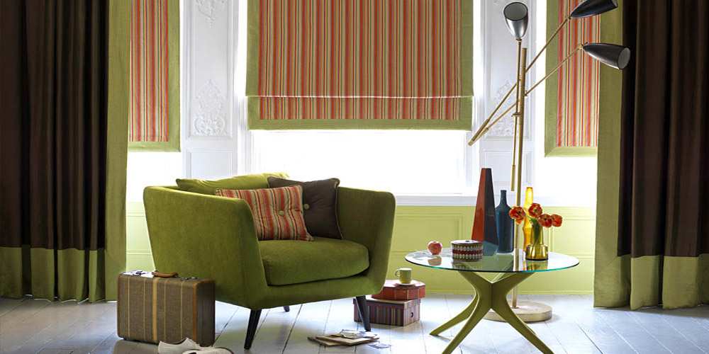 paul smith stripe roman blind with contrast boarder