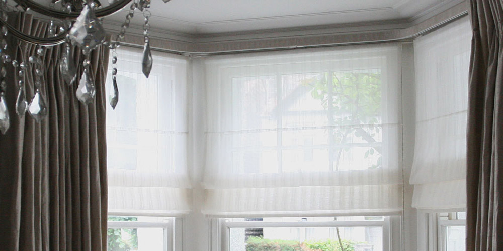 Blinds moghul interiors for Roman shades for bay windows