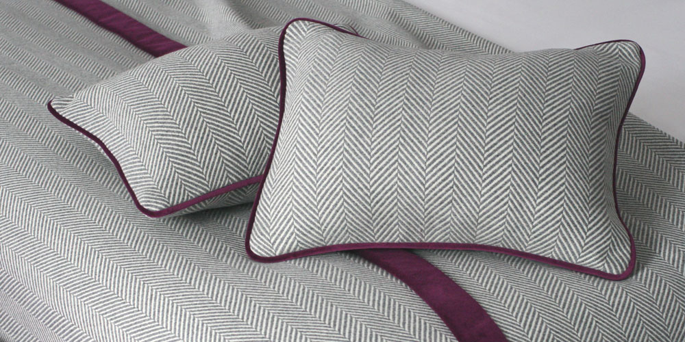 bespoke cushions and bedspread with contrast border