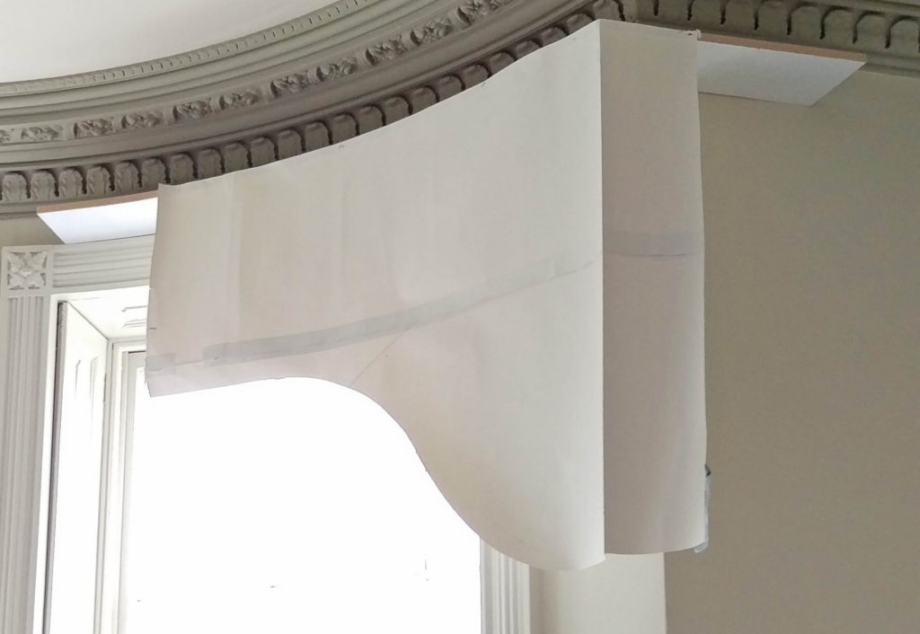 arched pelmet paper template mock up