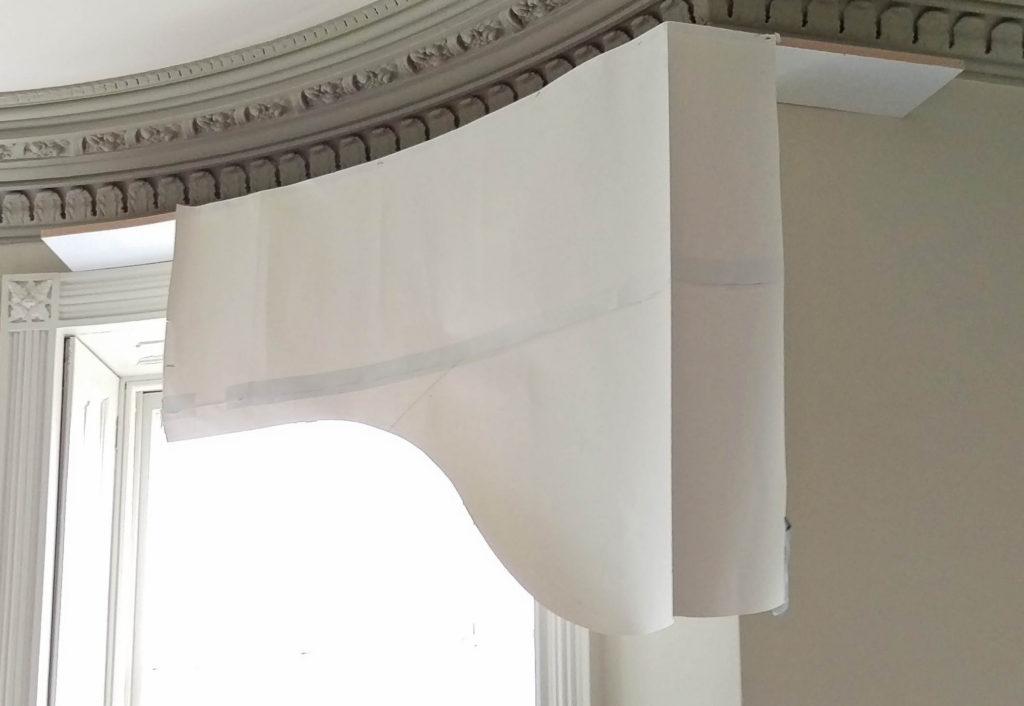 arched pelmet paper template mock up