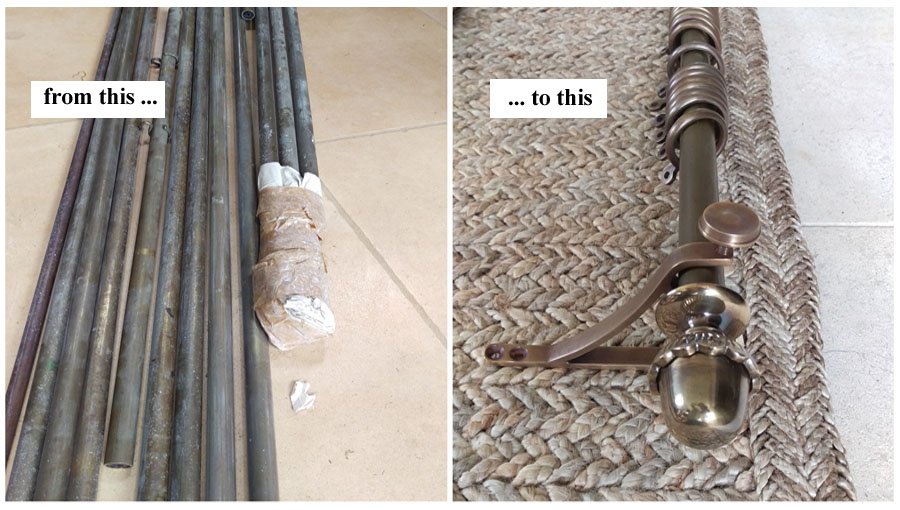 creating new antique bronze poles from old picture rails