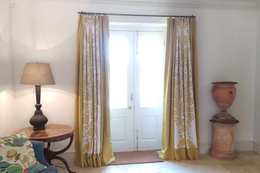 crewel curtains with linen border