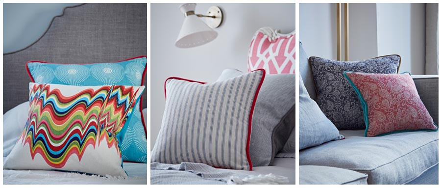 made to measure cushions patterned striped