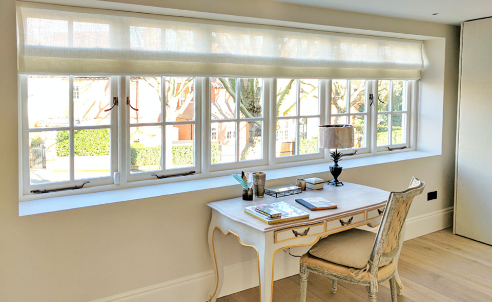 extra wide sheer roman blind london townhouse